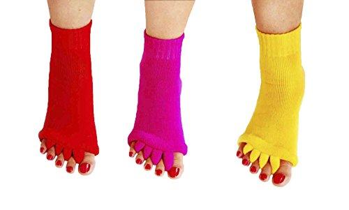 Zehentrenner für Yoga, Sport, Fitnessstudio, Fußausrichtung, Schmerzen, Massage-Socken - - Medium