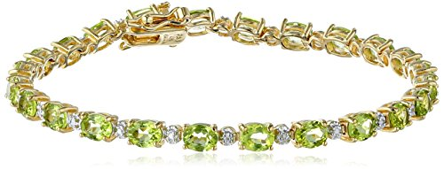 18k Yellow Gold Plated Sterling Silver Genuine Peridot Oval Cut 5x4mm and Diamond Accent Tennis Bracelet, 7.25
