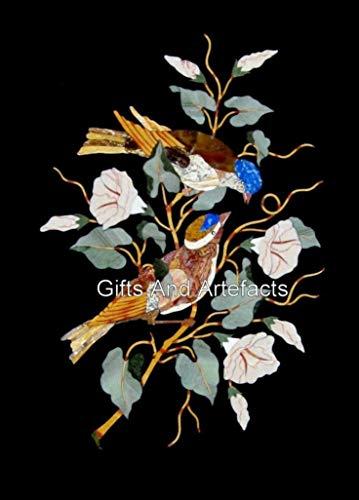 Mesa de comedor de mármol negro de 24 x 76 cm, con diseño elegante de trabajo floral