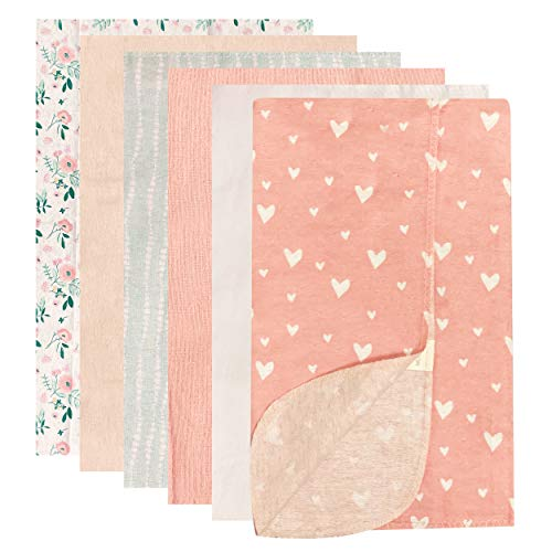Modern Baby Receiving Blankets for Baby Girl 6 Pack Flannel Blanket Set 100% Cotton Fabric One Size