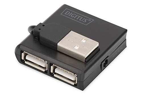 Mozzo USB DIGITUS - 4 porte - USB 2.0 ad alta velocità - 480 MBit/s - Pacchetto compatto - Alimentatore USB - Nero, Versione Compatta