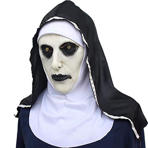 Lamptti Halloween Horreur Masque de Nonne – Female Ghost Latex Masque de tête de Pâques Halloween Cosplay Masquerade Masques Tête complète