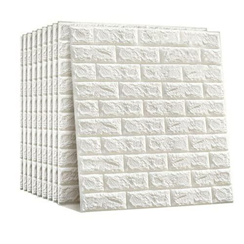 Papel pintado 3D, 10 unidades, diseño de ladrillos en 3D, 77 x 40 cm, color blanco, para baño, dormitorio, salón, balcón, cocina