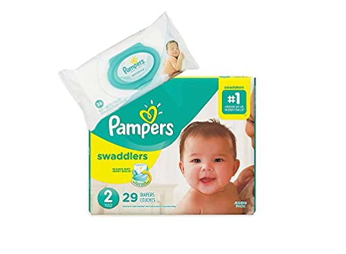 Pampers Swaddlers Disposable Size 2 Diapers (29 Count) Bundle with 36 Pampers Sensitive Care Baby Wipes