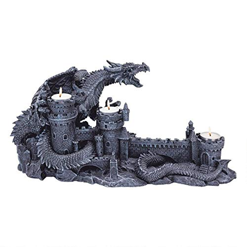 Design Toscano CL3682 Dragon's Wrath Gothic Candle Holder Statue, 18 Inch, Polyresin, Grey Stone