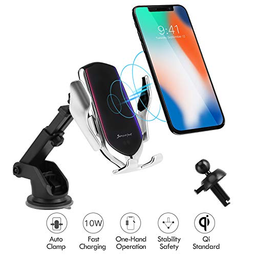 Hinyx Kabelloses Auto Ladegerät, Qi 10W Schnellladung Automatisches Spannen Auto Entlüftung+Windschutzscheibe Halterung Handyhalter für iPhone 8/8 Plus/X/XS/Max/XR, Samsung S9/S9+/S8