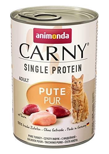 animonda Carny Single Protein adult Katzenfutter, Nassfutter für ausgewachsene Katzen, Pute Pur, 6 x 400 g