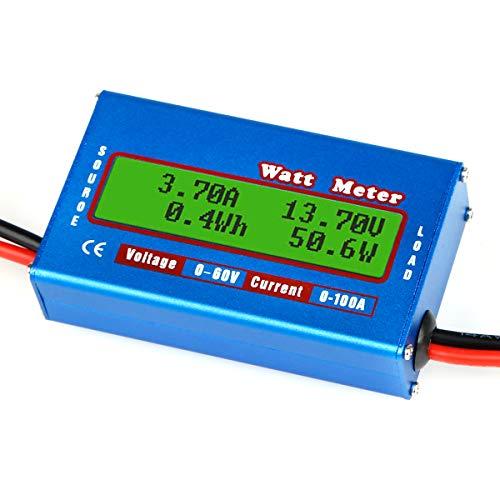 PinBoTronix 100A RC High Precision Power Analyzer Wattmeter Batterieverbrauch Leistungsüberwachung mit LCD-Hintergrundbeleuchtung für RC, Batterie, Solar, Windenergie