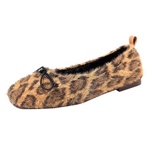 Best Prices! Women Bellet Flats Leopard Print Plush Bow Slip-on Ballerina Casual Warm Lightweight No...