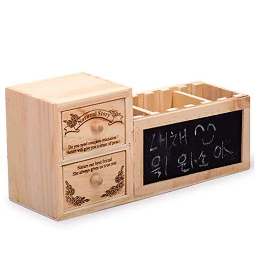 Portalápices de madera con 2 capas de cajón, organizador de pizarra, organizador de estudiante, escuela, oficina, suministros de papelería, soportes para lápices