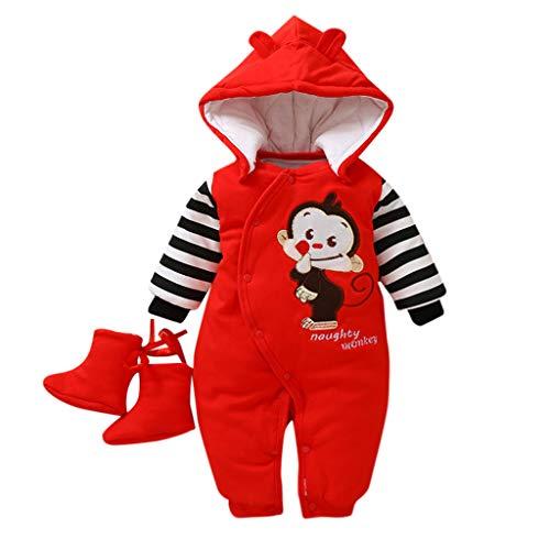 Fenverk Baby MäDchen Junge Winter Strampler Bekleidung Karikatur Tier Jumpsuit Spielanzug Fleece Overall Mit Kapuze Jungen SchneeanzüGe Warm Outfits + 1 Paar Schuhe(rot,3-6 Monate)
