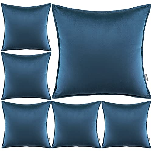 Yzpacc Juego de 6 fundas de almohada de terciopelo con bordes a medida decorativos cuadrados para sofá cama (45 x 45 cm) (solo fundas de almohada, sin relleno), color azul oscuro