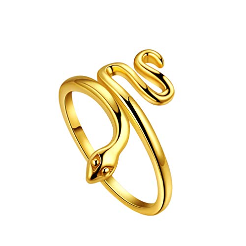 Mens Snake Band Ring 925 Sterling Silver 18K Gold Plated Women Adjustable Snake Animal Stack Ring Jewellery Gift for Mom Wife FR0008Y