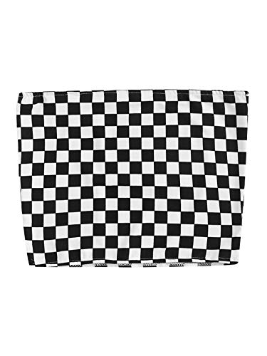 HUILAN Women's Sleeveless Plaid Sexy Strapless Checkered Bandeau Tube Crop Tops Black S