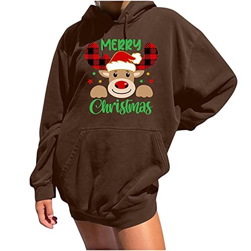 AOCRD Sudadera de Navidad para mujer, con capucha de gran tamaño, con impresión navideña, de punto, de...