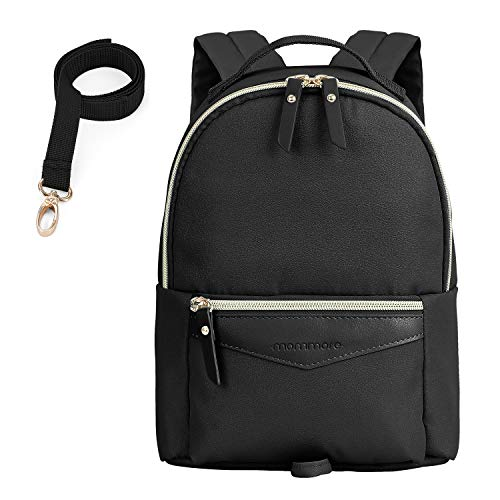 mommore Fashion Toddler Backpack Travel Kids Backpack with Small Toddler Leash, Black