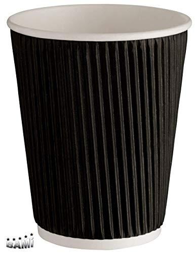 BAMI Kaffeebecher | Riffelbecher | Einwegbecher | Heiße Getränke Becher | Schwarz, geriffelt, doppelwandig 0,4l / 16oz. | 100 Stück