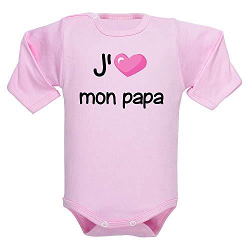 Body fille et garçon, manches longues, brassière enfant, bébé, bodies, fête des pères, cadeau, papa, père - Rose clair, 6-12 mois