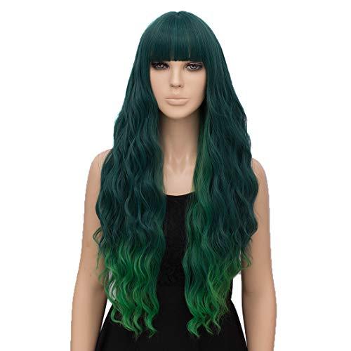 Fivefour Synthetische Perücke Damen, Synthetic Wig Perücke Lang Lockige Haare für Cosplay Anime Kostüm Party Halloween Alltag Schwarze Ombre Grüne