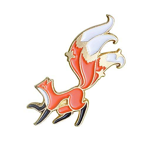 Saicowordist - Spilla a forma di volpe rossa, smaltata, per fai da te, per abbigliamento, borse, zaini, giacche, cappelli, gioielli, Natale