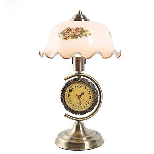 Lampe de table américaine chambre lampe de chevet salon étude rétro horloge en fer forgé lampe de table en verre
