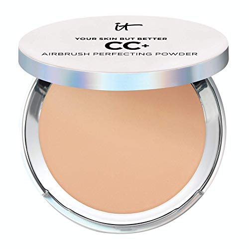 IT Cosmetics Your Skin But Better CC+ Airbrush Perfecting Powder - Medium Tan (W) - Camouflage Pores, Dark Spots & Imperfections - With Peptides, Silk, Niacin & Hydrolyzed Collagen - 0.33 oz