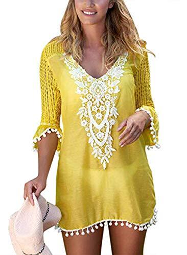 SEBOWEL Sukienka plażowa, damska, letnia sukienka na bikini, ponczo plażowe, bandeau, boho, długa sukienka bez ramion, elegancka sukienka na czas wolny, #5 żółty, M