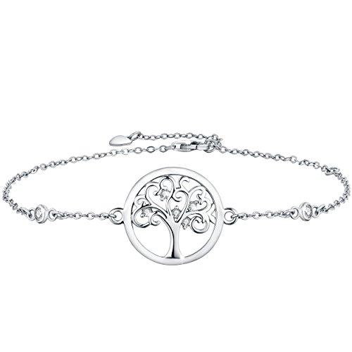 Boniris 925 Sterling Silber Baum des Lebens Armband Womens Handmade Armband mit Zirkonia für Muttertag, Geburtstag und Graduation Season