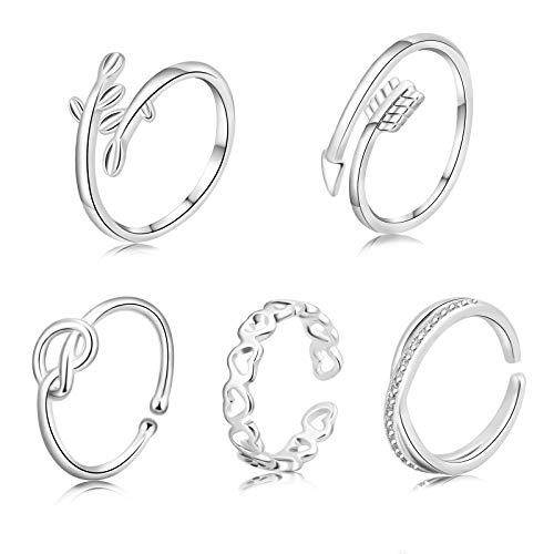 Defrsk 5PCS Adjustable Rings Set Open Rings set Love Knot Ring Finger Ring Open Tail Ring Gifts Jewelry Set