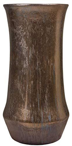 Casa Padrino Jugendstil Blumentopf Bronzefarben Ø 43 x H. 87 cm - Handgefertigter runder Terracotta Pflanzentopf - Garten & Terrassen Deko Accessoires