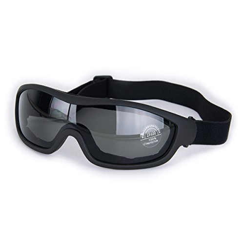 Viriber Motorcycle Goggles Bike Goggles UV Protective Outdoor Glasses Dust-proof Protective Combat Goggles Military Sunglasses Outdoor Tactical Goggles (Deep Black)