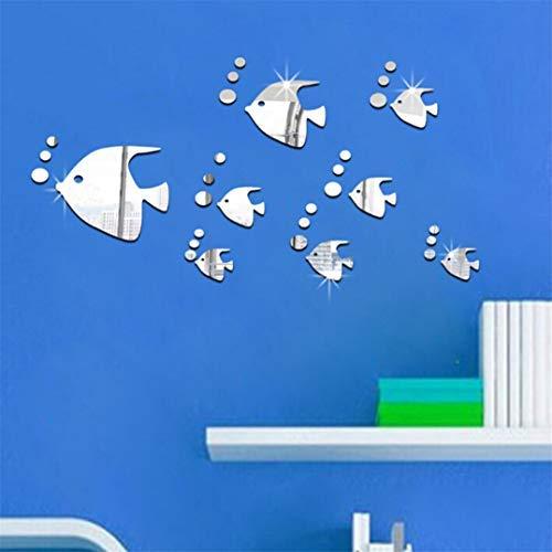 Garispace Wandaufkleber Aufkleber Fisch Muster Spiegel Blätter Spiegel Wandaufkleber Selbstklebende Niedlichen Tier Kunst Wand Papier Dekoration (Silber)