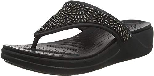 Crocs Monterey Diamante Wedge Flip, Tongs Femme, Noir (Black 001), 38/39 EU