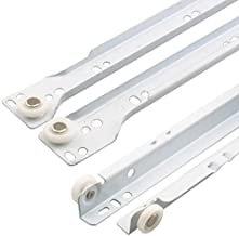 """Prime-Line R 7211 Drawer Slide Kit – Replace Drawer Track Hardware – Self-Closing Design –Fits Most Bottom/ Side-Mounted Drawer Systems –17-3/4"""" Steel Tracks, Plastic Wheels, White 1 Pair (2 LH, 2 RH)"""