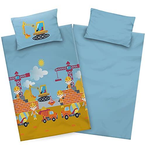 Aminata Kids Bagger-Bettwäsche Kinderbettwäsche 100-x-135 Junge Baumwolle mit Baustelle und Bagger-Motiv Reißverschluss, hell-blau, unsere Kinder-Bettwäsche-Set, für Junge Baumeister mit Autos