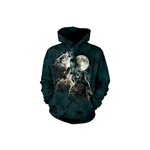 The Mountain Three Wolf Moon Hsw Adult Hoodie, Dark Green, Medium