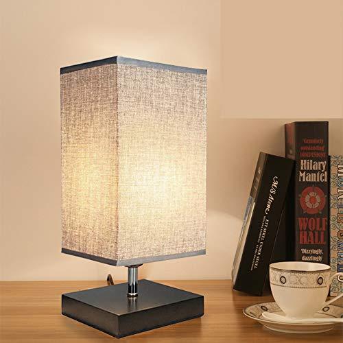 Depuley Tischlampe LED Nachttischlampe Schlafzimmer Holzsockel mit E27-Fassung Glühbirne und Lampenschirm aus Stoff, Rechteckige Leselampe Warmweiß, Nachtlicht für Wohnzimmer, Hotel, Café