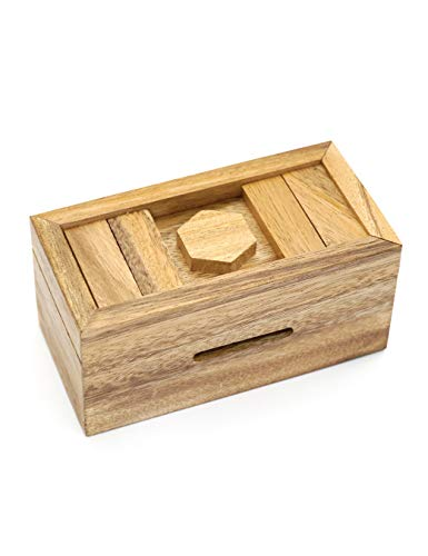 Puzzle Gift Case Box and Magic Cards Case Holder with Hidden Compartments in Unique Wooden Boxes to Challenge Mind Puzzles and Use as Intelligence Gift Box for Money Secret