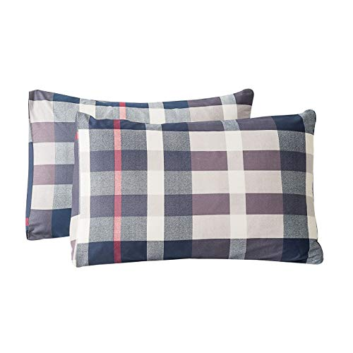 SUSYBAO 100% Cotton Pillowcases Queen Size Set of 2 Navy Tartan Plaid Bed Pillow Covers Envelope Closure End Pillow Protectors Premium Quality Soft Breathable Easy Care Durable, 20 in x 26 in