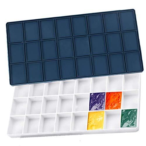 24 Rejillas Caja de Pintura Acuarela, Paleta Pintura de Plástico con Tapa Goma, Bandeja de Paleta a Prueba Fugas para Pintura Al óleo, Pintura Acrílica