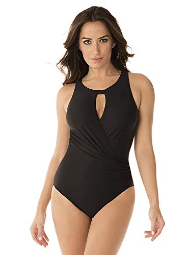 Miraclesuit Women's Swimwear DD-Cup Rock Solid Arden Tummy Control Soft Cup One Piece Swimsuit with Removable Straps, Black, 14DD