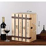 Boîte À Vin en Bois avec 6 Bouteilles, Caisses À Vin en Caisse De Pin Caisse À Vin avec Couvercle, Poignée Et Supports De Rangement pour Bouteilles De Vin