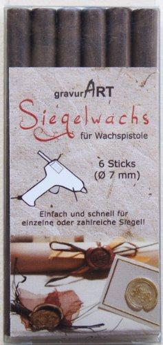gravurART - ceralacca (flessibile) per pistola, 6 stecche marrone cioccolato.