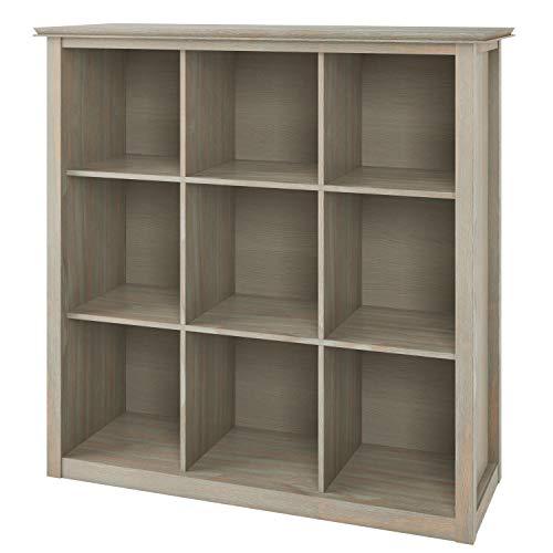 Simpli Home Artisan 9 Cube Storage Unit Bookcases, Distressed Grey