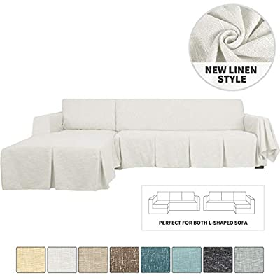 YEMYHOM Sectional Couch Covers 2-Piece Linen L Shape Sofa Cover with Ruffles Durable Slip Covers for Dogs Furniture Protector Slipcovers for Living Room (3-Seat with Right Chaise, Off White)