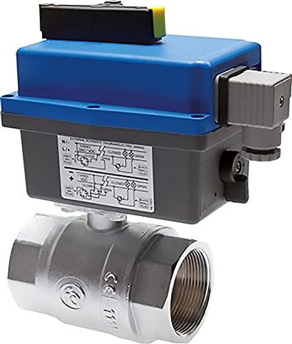 Válvula de bola con accionamiento eléctrico oscilante (modelo sanitario), hasta 40 bar, válvula de agua de aire comprimido y combustible (voltaje: 110-240 V CA/CC, rosca: G 1/4')
