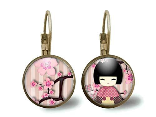 Pendientes cabochon -'kokeshi rosa' - Regalo de Navidad para regalo esposa - San Valentín - regalo de cumpleaños (ref.38)