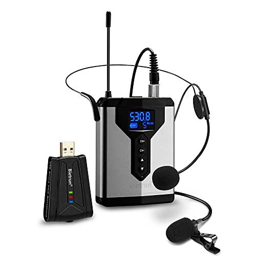 Bietrun UHF drahtlos Lavalier Mikrofon PC Laptop USB Funkmikrofon für Windows/Mac Ansteck Headset 2in1 Mikrofon für Videoaufnahme Vlogs YouTube Video Interview Konferenz Live Streaming