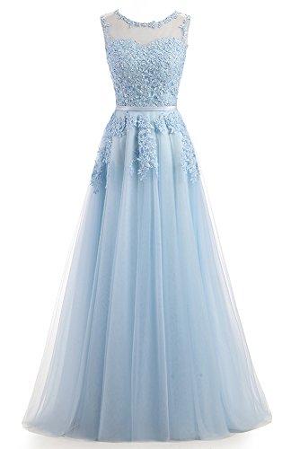 Ever Love A-Linie Lang Spitze T¨¹ll R¨¹ckenfrei Abendkleid Ballkleid Hochzeit Brautjungfernkleid mit Träger-Farbe: Himmelblau, Gr. 42
