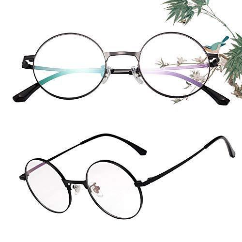 老眼鏡 丸メガネ 正円 軽い ブルーライトカット チタン合金 ケース付き ユニセックス メンズ レディース リーディンググラス 度付き ブラック 度数+150 L8313